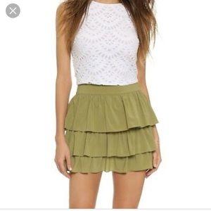 Alice + Olivia green ruffle mini skirt